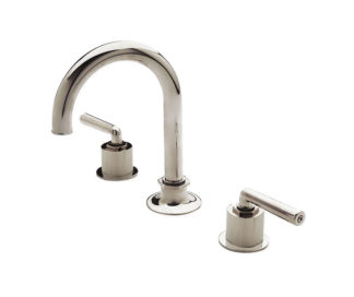 Waterworks Henry Gooseneck Three Hole Deck Mounted Lavatory Faucet - Coin Edge Cylinders and Metal Lever Handles