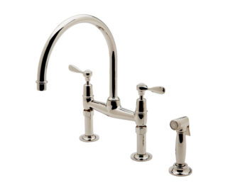 Waterworks Easton Classic Two Hole Bridge Gooseneck Kitchen Faucet, Metal Lever Handles and Spray, kitchen faucet, classic faucet, alexander marchant