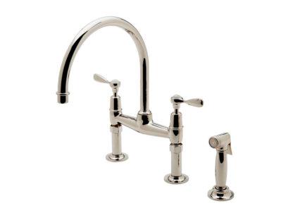 Waterworks Easton Classic Two Hole Bridge Gooseneck Kitchen Faucet, Metal Lever Handles and Spray, kitchen faucet, classic faucet, alexander marchant