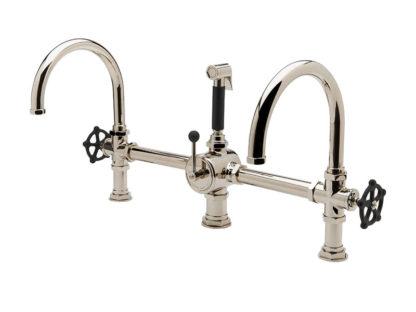 Waterworks Regulator Gooseneck Double Spout Marquee Kitchen Faucet - Black Wheel Handles and Spray, kitchen faucet, classic faucet, alexander marchant